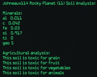 Soil analysis of Geo 5 planet with 92% silicon